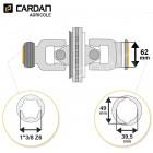 Joint de cardan grand angle Benzi complet tube citron 39,5x49 - 1-3/8 Z6