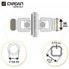 Joint de cardan grand angle Bondioli complet tube quadrilobes 47,4x4,75 - 1-3/8 Z6
