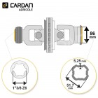 Joint de cardan grand angle Bondioli complet tube quadrilobes 51,7x5,25 - 1-3/8 Z6