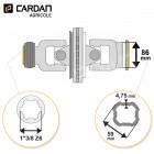 Joint de cardan grand angle Bondioli complet tube quadrilobes 59x4,75 - 1-3/8 Z6