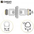 Joint de cardan grand angle Bondioli complet tube free rotation 48x3,10 - 1-3/8 Z6