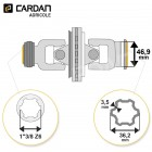 Joint de cardan grand angle Comer complet tube multilobes 36,2x3,5 - 1-3/8 Z6