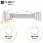 Protecteur de cardan complet série SFT003 S4 BONDIOLI Lg 1210 mm - 23,8x82 - 22x83,6 tube Quadrilobes